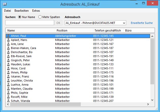 Adressbuch Outlook 2013