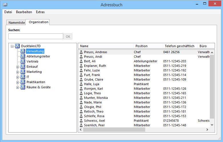 Outlook 2013 Adressbuch mit hierarchischer Struktur